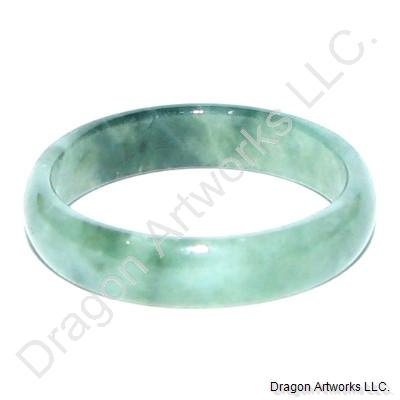 Glistening Chinese Green Jade Band Ring