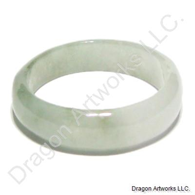 Charming White Green Jade Band Ring