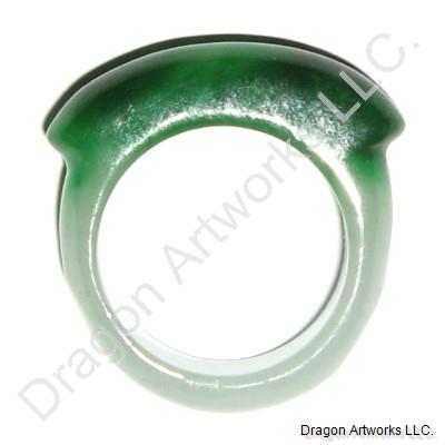 Love and Care White Green Jade Ring