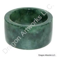 Wide Green Jade Thumb Ring of Protection