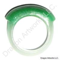 Chinese White Green Jade Ring of Prosperity