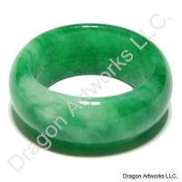 Chinese Green and White Jade Ring