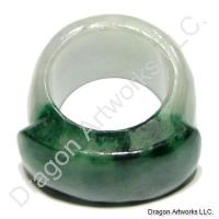 Chinese Dark and Light Green Jade Ring of Insight