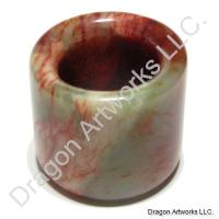 Mixed Green and Red Chinese Jade Archers Thumb Ring
