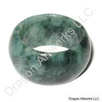 Chinese Dark Green Jade Ring of Blessings